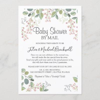 Elegant Blossom Watercolor Baby Shower by Mail Invitation