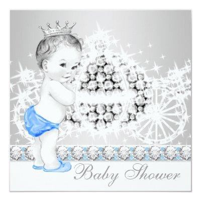 Elegant Blue and Gray Prince Baby Shower Invitation