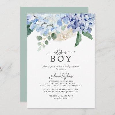 Elegant Blue Hydrangea It's A Boy Baby Shower Invitation