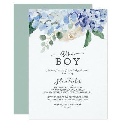 Elegant Blue Hydrangea It's A Boy Baby Shower Invitation
