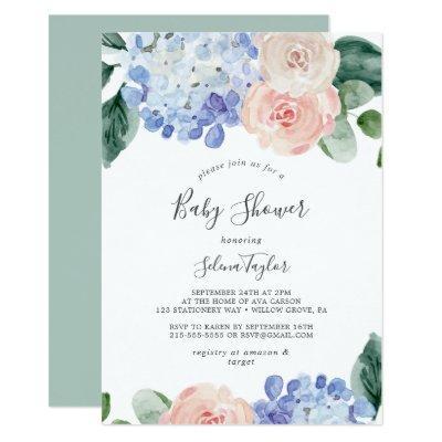 Elegant Blue Hydrangea   White Baby Shower Invitation