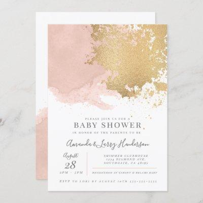 Elegant Blush and Gold Watercolor Baby Shower Invitation