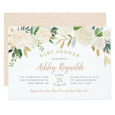 Elegant Blush Neutral Blooms Floral Baby Shower Invitations