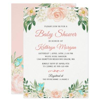 Elegant Blush Peach Floral Blossom Baby Shower Invitations