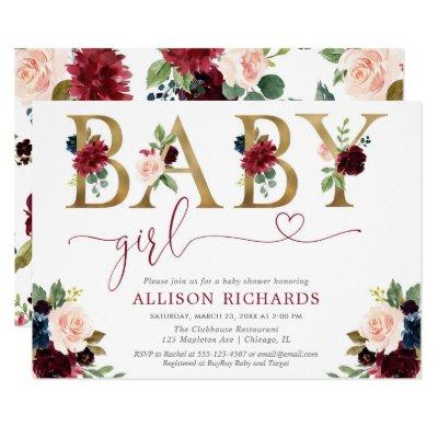Elegant blush pink burgundy floral girl baby invitation
