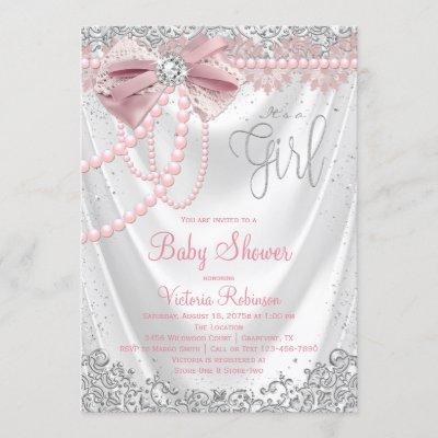 Elegant Blush Pink Diamond Pearl Girly Baby Shower Invitation