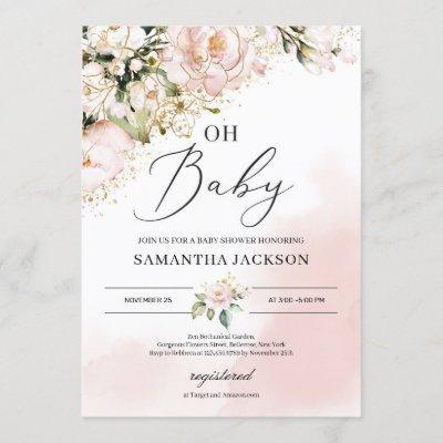 Elegant blush pink floral gold girl oh baby shower invitation