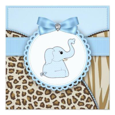 Elegant Brown and Blue Elephant Baby Shower Invitations