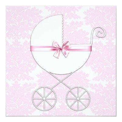Elegant Carriage Pink Damask Baby Shower Invitatio Invitation