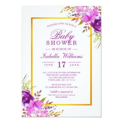 Elegant Chic Gold Purple Floral Baby Shower Invitations