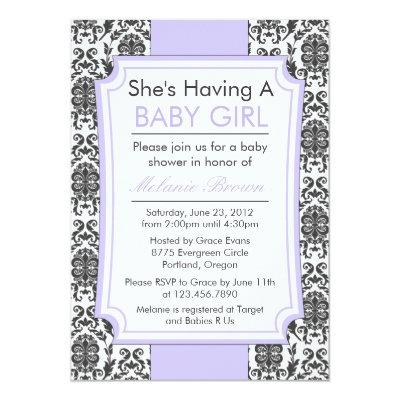 Elegant Damask Baby Shower Invite
