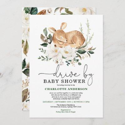 Elegant Deer Ivory Floral Drive By Baby Shower Invitation