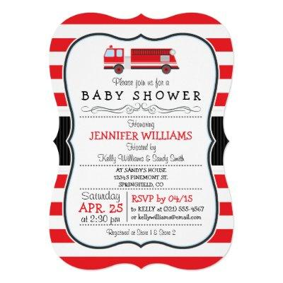 Elegant Fire Truck Baby Shower Invitations