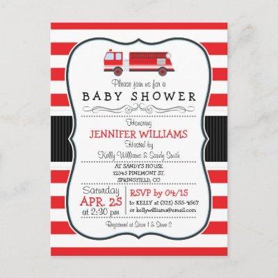 Elegant Fire Truck Baby Shower Invitation