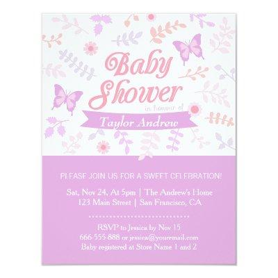 Elegant Floral Butterfly Invitations