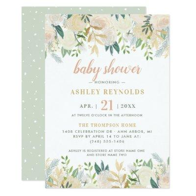 Elegant Floral Greenery Baby Shower Invitation
