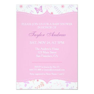 Elegant Floral Pattern Butterfly Invitations