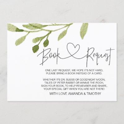 Elegant Foliage Baby Shower Book Request Cards