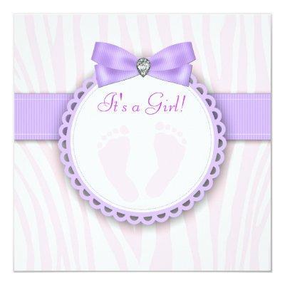 Elegant Footprint Pink and Purple Baby Shower Invitation