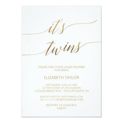 Elegant Gold Calligraphy It's Twins Baby Shower Invitation
