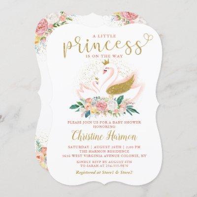 Elegant Gold Swan Princess Pink Floral Baby Shower Invitation