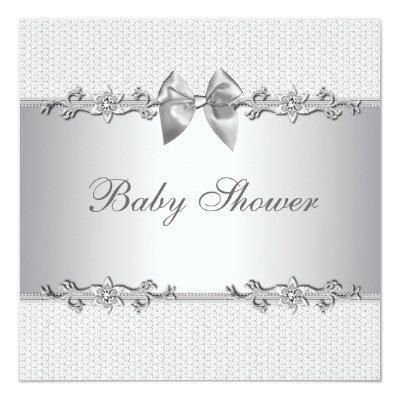 Elegant Gray and White Baby Shower Invitation