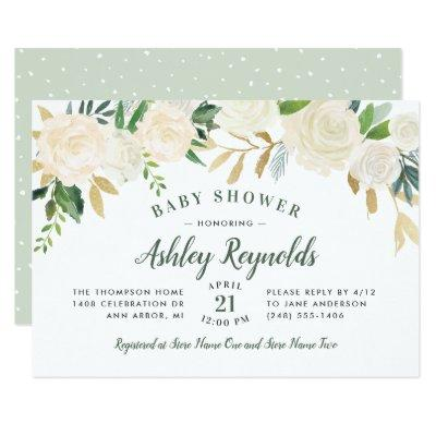 Elegant Green Neutral Blooms Floral Baby Shower Invitation