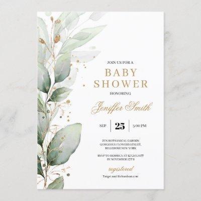 Elegant greenery eucalyptus and gold baby shower invitation