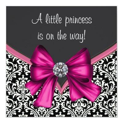 Elegant Hot Pink Black Damask Princess