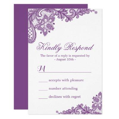 Elegant Lavender Purple Lace Pattern RSVP Card