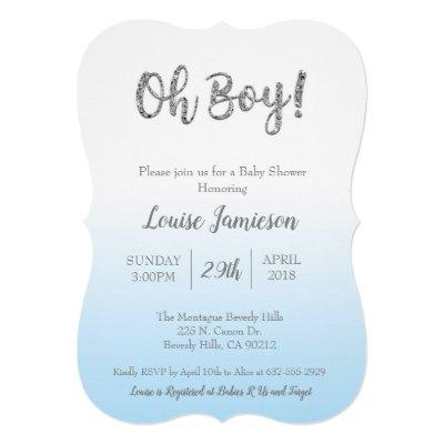 "Elegant Modern Baby Shower ""Oh Boy"" glitter card"