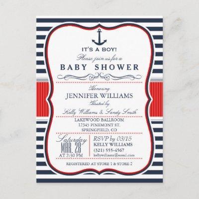 Elegant Nautical Baby Shower Invite; Navy and Red Invitation Postcard