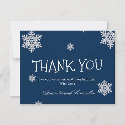 Elegant navy blue Winter Snowflake Thank You Card