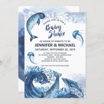 Elegant Ocean Watercolor Baby Shower Invitation