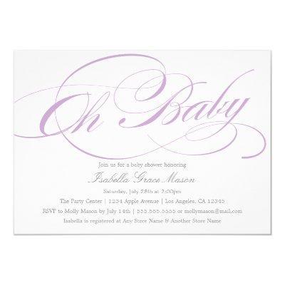Elegant Oh Baby In Violet | Invitations