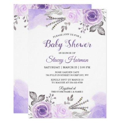Elegant Pastel Purple Blossom Flowers Baby Shower Invitations