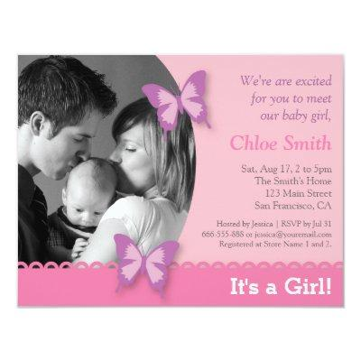 Elegant Photo butterfly party Invitations
