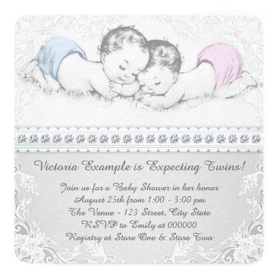 Elegant Pink and Blue Twin Baby Shower Invitations
