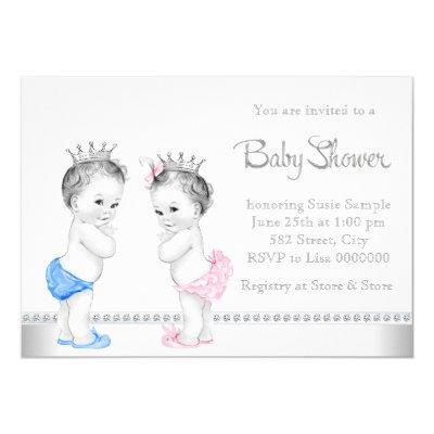 Elegant Pink And Blue Twins Invitations