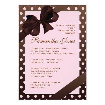 Elegant Pink and Brown Polka Dot Invitations