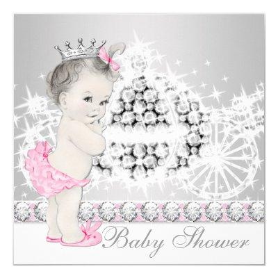 Elegant Pink and Gray Princess Baby Shower Invitation