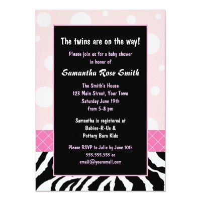 Elegant Pink and Zebra Girl Twins Baby Shower Invitations