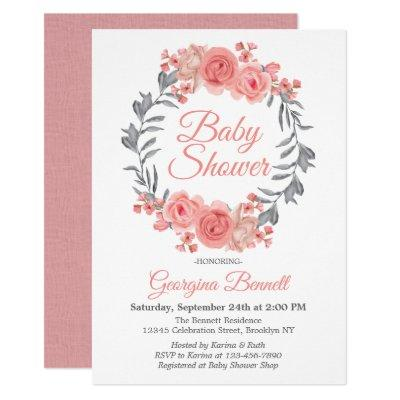 Elegant Pink Blush Gray Floral Wreath Baby Shower Invitation