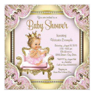 Elegant Pink Chair Pearls Pink Gold Baby Shower Invitation