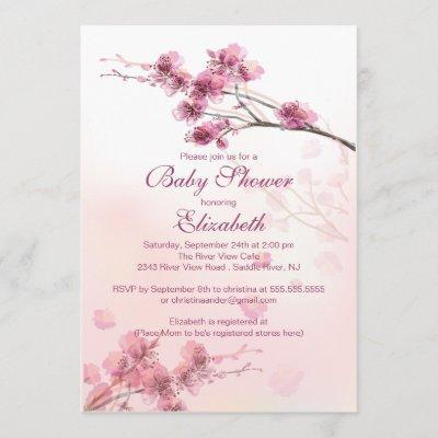 Elegant Pink Cherry Blossom Floral Baby Shower Invitation