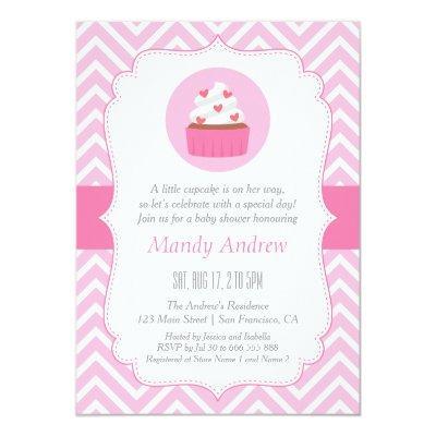 Elegant Pink Chevron Cupcake Baby Girl Shower Invitation