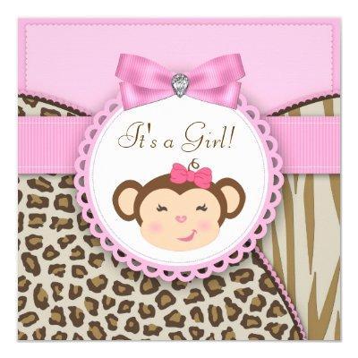 Elegant Pink Monkey Baby Girl Shower Invitations