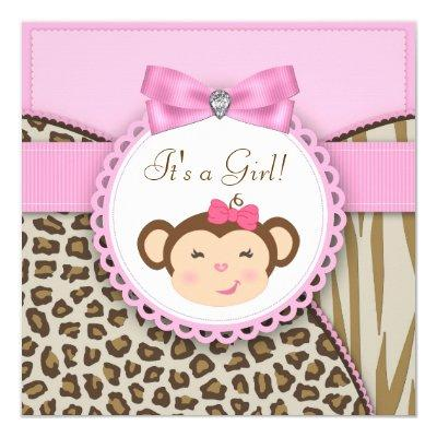 Elegant Pink Monkey Baby Girl Shower Invitations