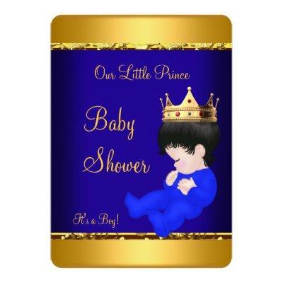 Elegant Prince Baby Shower Royal Blue Gold Boy Invitation