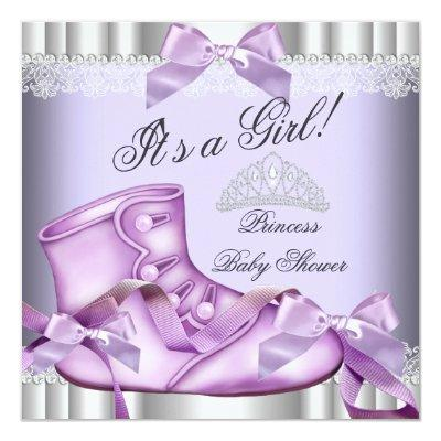 Elegant Princess Baby Shower Girl Lavender lace Invitations